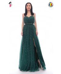 Rochie de ocazie lunga din tulle cu perle multicolore