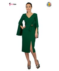 Rochie de ocazie verde midi dreapta