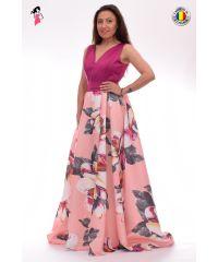 Rochie lunga din tafta cu imprimeu floral roz