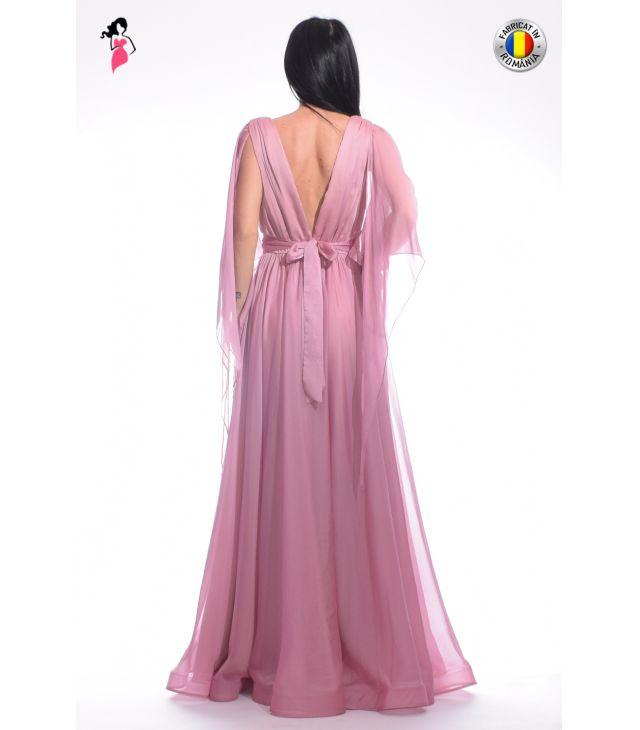 Rochie de seara din voal, cu maneci asimetrice