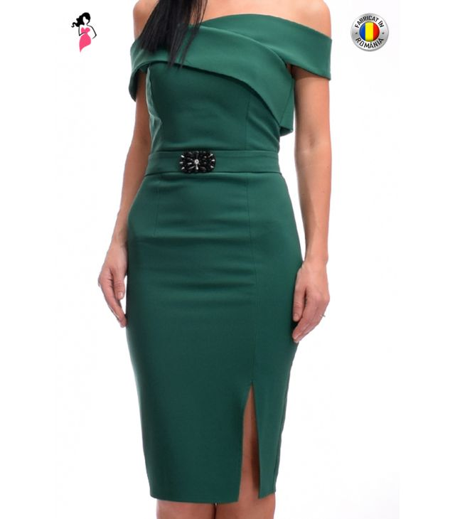 Rochie eleganta conica din stofa elastica