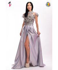 Rochie de seara lunga din tafta cu flori 3D