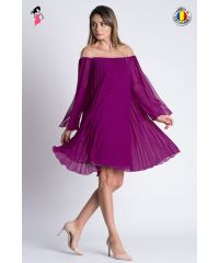 Rochie eleganta cu croi lejer din voal plisat