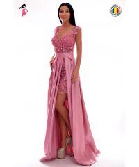 Rochie de seara lunga din tafta cu flori 3D si perle
