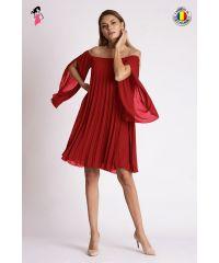 Rochie de ocazie plisata de lungime midi