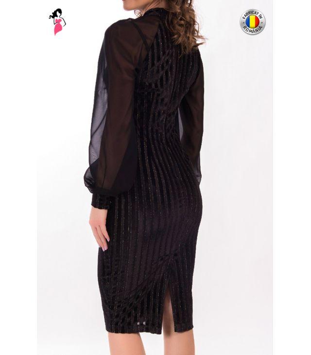 Rochie de ocazie conica cu maneci lungi de voal