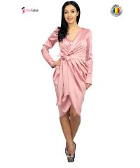Rochie de ocazie roz parte peste parte din tafta elastica